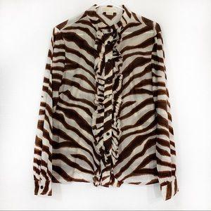 Michael Kors Zebra Print Blouse Button Down Top 12